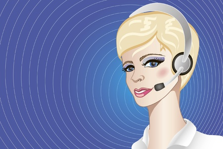 Illustration of pretty call-center operator on blue background with much place for your text Illustration