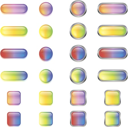 A set of colorful glossy buttons in different shapes Illustration