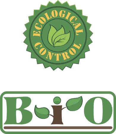 Two green creative isolated graphic elements for bio and eco design