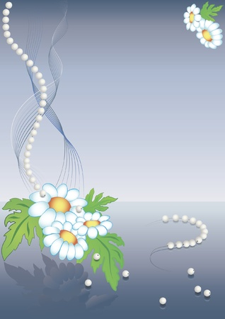 Chamomile background decorated with abstract lines and pearls