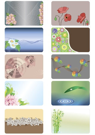 A set of credit cards with abstract floral background in different styles Illustration
