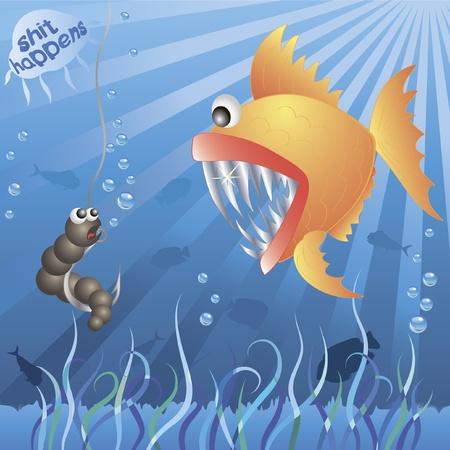 Underwater life. worm meets fish. shit happens.