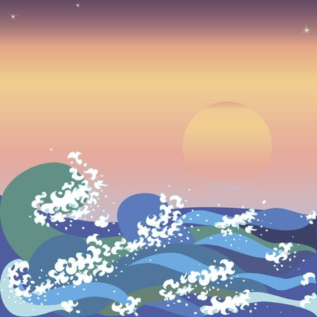 asian culture: Colorful background with sunset and sea waves in japanese style