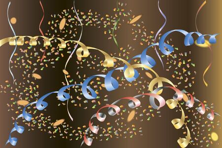 Bright party background with confetti, paper streamers and sparkling spots