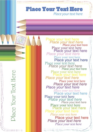 Background with colored pencils in the shape of the frame, pencil lines and much place for your text Illustration