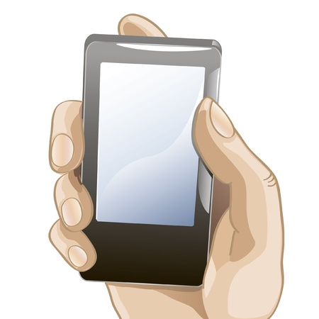 mobile sms: vector illustration of hand with mobile phone Illustration