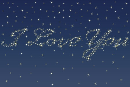 Deep night sky and beautiful stars sparkling in the shape of a love declaration