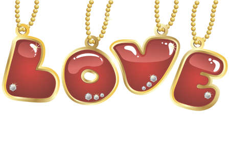 hanging word love decorated by jewels