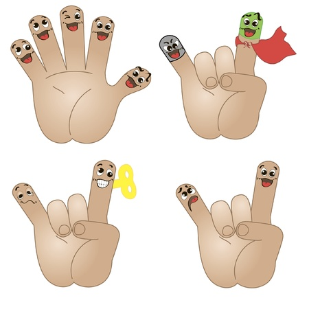 five elements: Isolated hand icons with funny faces expressing different emotions