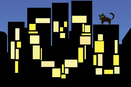An illustration of a night city lights turned on in the shape of a love declaration
