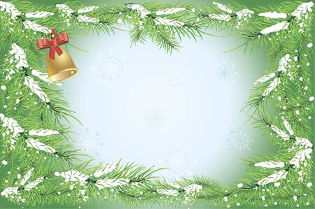Winter background with an illustration of snowy fir tree branches, snowflakes and a bell with a red bow