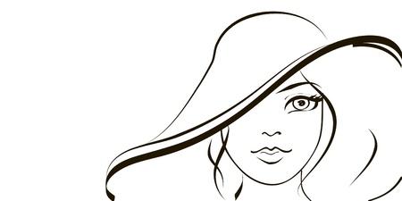 summer fashion girl in hat.