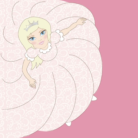 children's background with illustration of beautiful little girl spinning in dance and place for your text Illustration