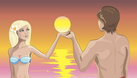 couple in love on the beach at sunset Vector