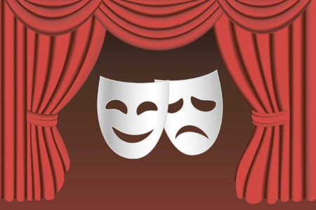 theater man: classical white theater masks and classical red theater curtains Illustration