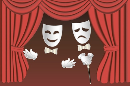 comedy disguise: classical white theater masks with gloves and walkingstick and classical red theater curtains Illustration