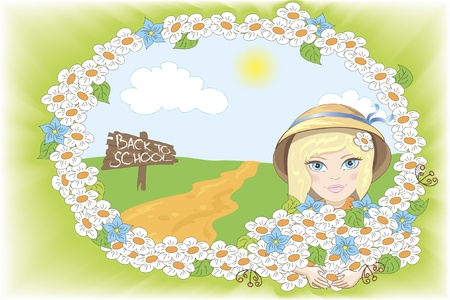 cute girl with flowers on the road back to school Illustration