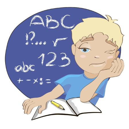 tired cartoon: cartoon illustration of bored boy during lesson. welcome back to school