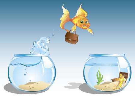 flying fish: cute cartoon business goldfish with case jumping to other bowl with chest full of money