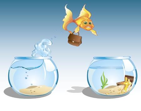 mignon de bande dessinée avec des poissons rouges entreprise cas de sauter à un autre bol avec le coffre plein d'argent