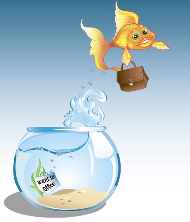 goldfish jump: cute cartoon business goldfish with case is going to office