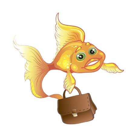 flying fish: business goldfish with case isolated