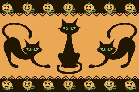 halloween background with cats pumpkins and decor element Illustration