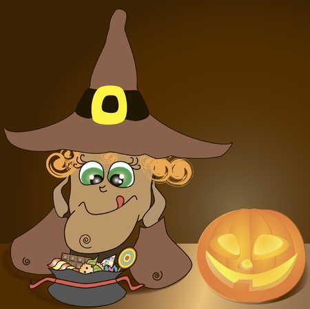 sweeties: halloween background with illustration of funny witch looking forward her sweeties