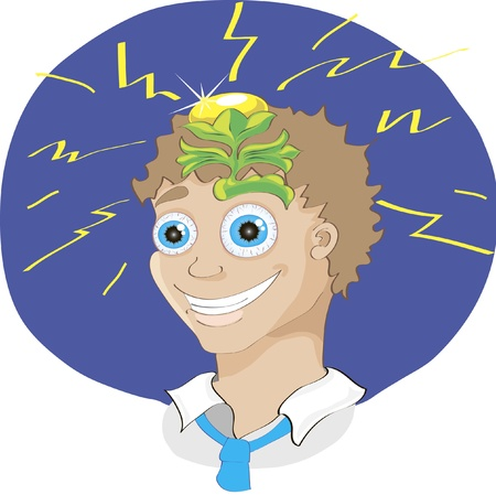brilliant idea: vector illustration of cute cartoon man with a brilliant idea after brainstorm Illustration