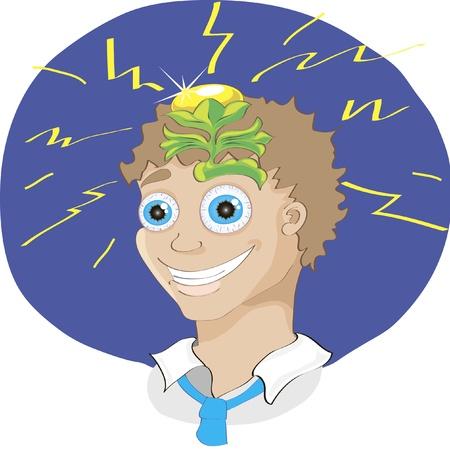 brillant: Vektor-Illustration von niedlichen Cartoon-Mann mit einer genialen Idee nach Brainstorming