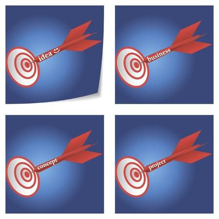 a set of four conceptual illustration of successful idea, business, concept, project