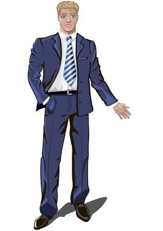 welcoming: a young handsome businessman in dark blue suit standing in welcoming pose