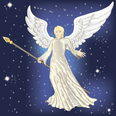 Flying angel in the night starry skies Vector