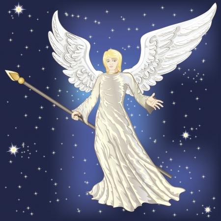 angelic: �ngel que volaba en el cielo nocturno estrellado
