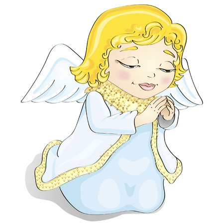 children of heaven: Cute cartoon little christmas angel is praying Illustration