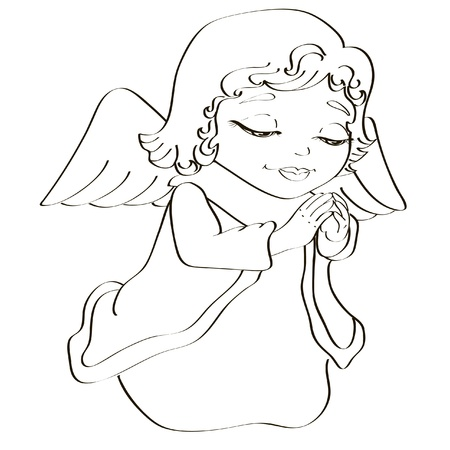 christian young: Black and white illustration of little christmas angel to be colored Illustration