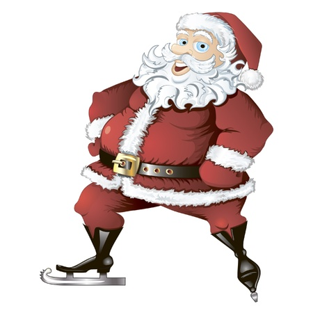 Isolated illustration of skating Santa Claus