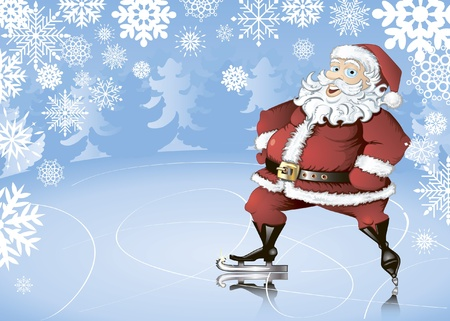 Winter background with skating Santa Claus, snowflakes and fir trees