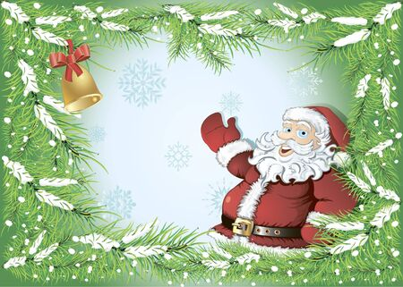 winter background with frame of fir tree branches and Santa Claus pointing at the place for your text Illustration