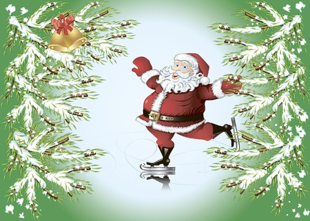 Christmas background with cartoon skating Santa Claus, fir tree branches and  bells
