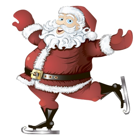 isolated cartoon illustration of skating Santa Claus