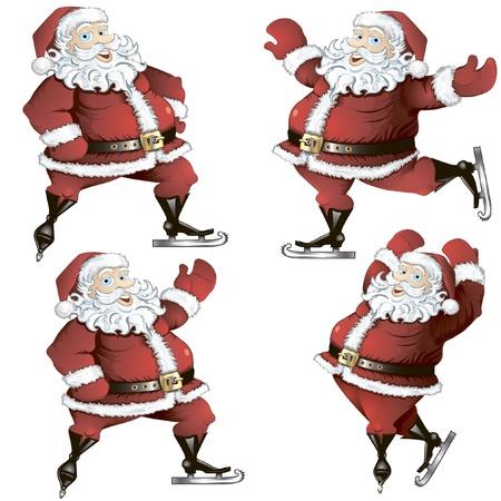 A set of isolated cartoon illustrations of skating Santas in poses