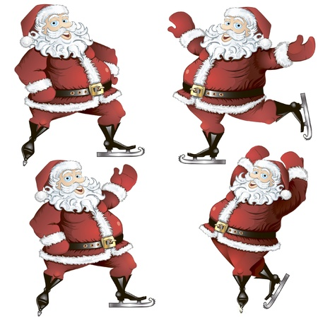 A set of isolated cartoon illustrations of skating Santas in poses