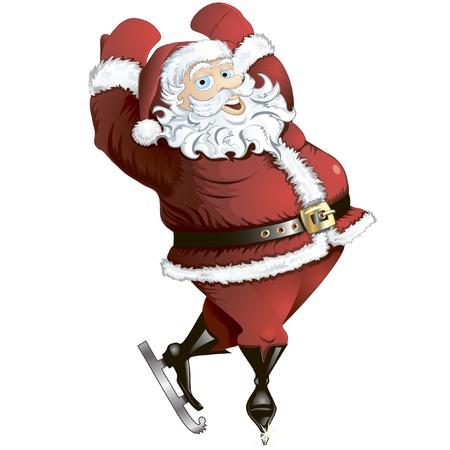 Isolated cartoon illustration of skating Santa in pose