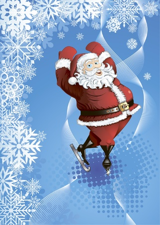 Winter background with skating Santa, decorated with snowflakes, abstract lines and halftone Vector