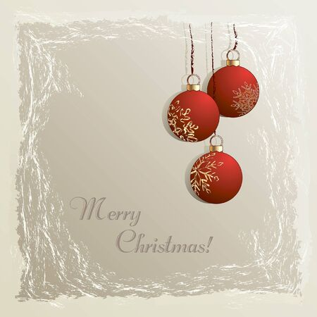 Christmas vintage background with hanging red baubles in frozen frame