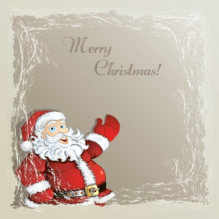 Christmas vintage background with cute cartoon Santa in the frozen frame