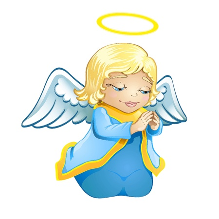Cute little baby angel Vector