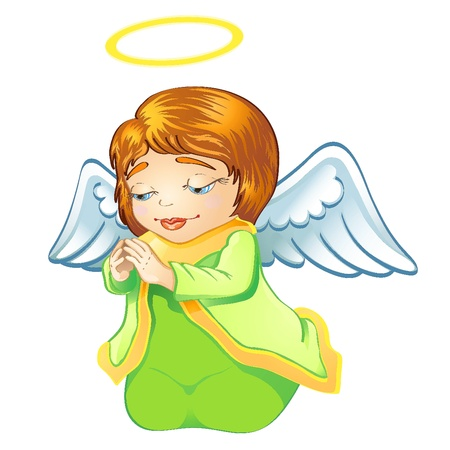 child praying: Cute little baby angel