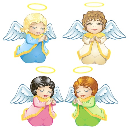 Cute little baby angels Vector